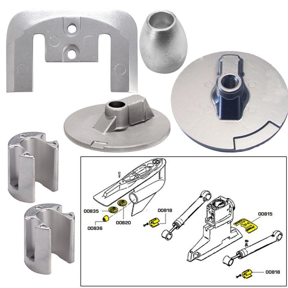 Tecnoseal Anode Kit w/Hardware - Mercury Bravo 3 2004 - Aluminum