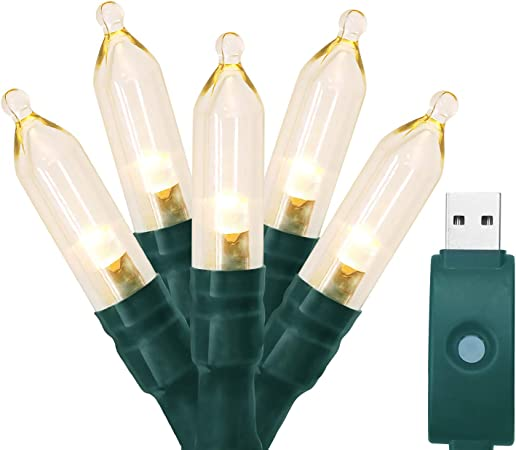 "LED Solar Lights /"" Bulbs /"" 50 Leds Warm White Clear or Colorful Indoor//Outdoor"