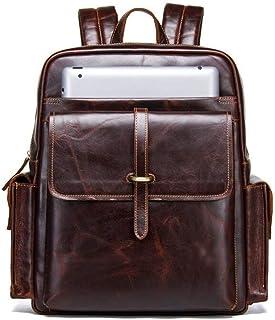 Cijfay Sac à Dos Vintage en Cuir décontracté Sac à Dos pour Ordinateur Portable Voyage Sac à Dos école Daypack pour Hommes (Color : Coffee)