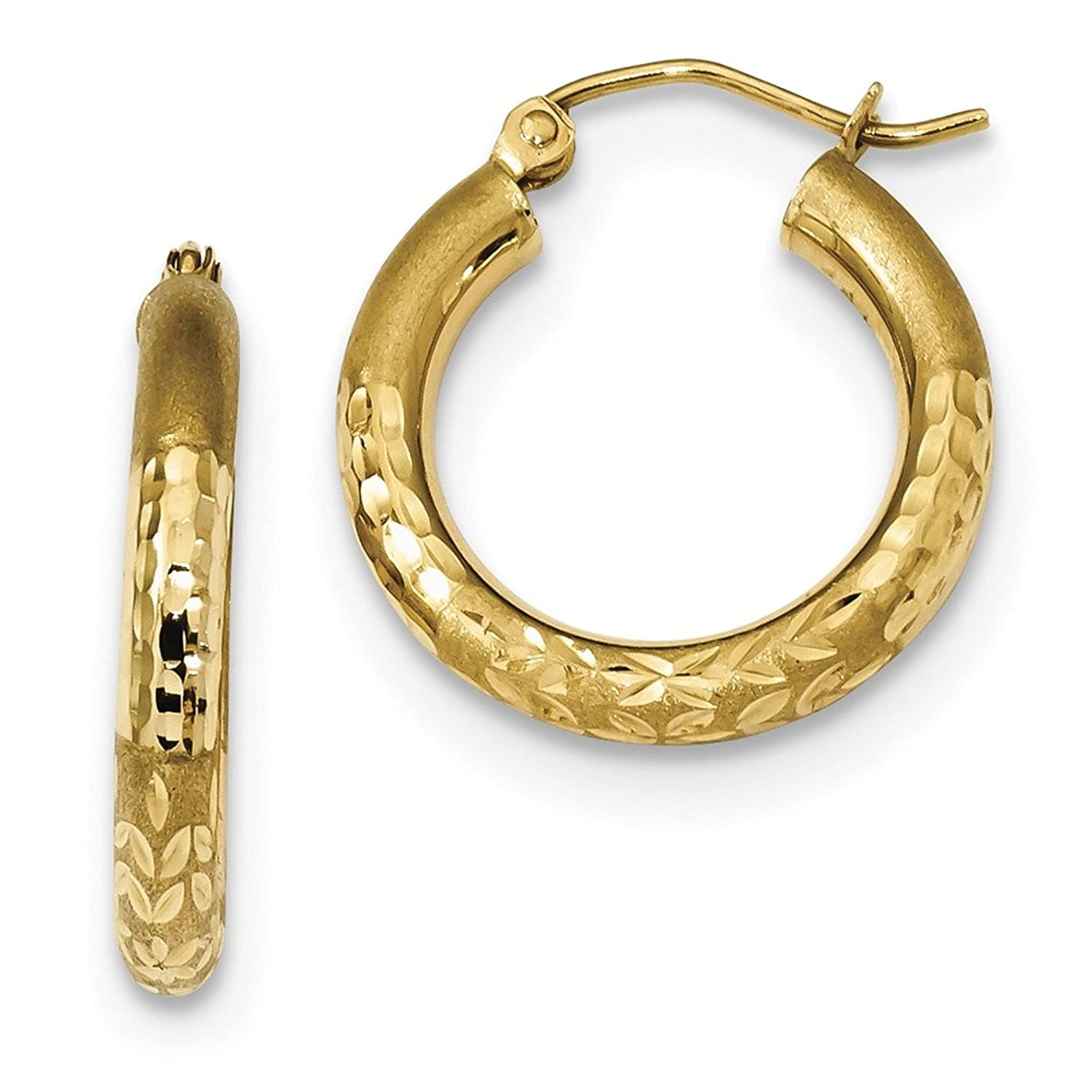 14kt Yellow Gold Polished; Satin /& D//C Hoop Earrings