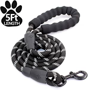 5FT Strong Nylon Dog Leash with Comfortable Padded Handle and Highly Reflective Threads for Medium and Large Dogs