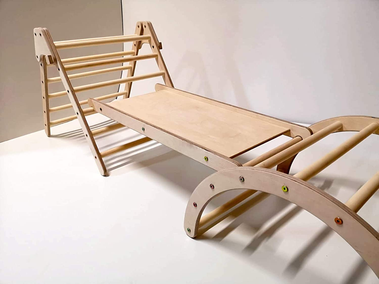 Sliding Board and Pikler Arch N//A Set of Montessori Foldable Pikler Triangle Wood Climbing Structure for Kids