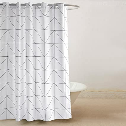 ZUOANCHEN Shower Curtains For Bathroom Black And White Grid Pattern Curtain Fabric