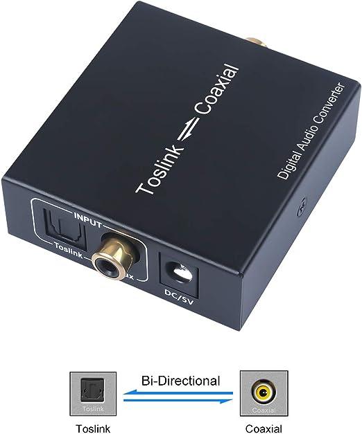 Coaxial a Óptico Toslink SPDIF Convertidor Bidireccional Adaptador de Audio Convertidor para PS4 Receptor de Satélite Xbox BLU-Ray HD TV, Cable de alimentación no Incluido: Amazon.es: Electrónica