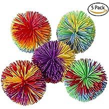 Hibery 5 Pack Monkey Stringy Balls, Soft Active Fun Toy, Sensory Fidgets Toys, Stress Balls with Rainbow Pom Ball, Colorful Bouncy Ball / Stress / Sensory Toy