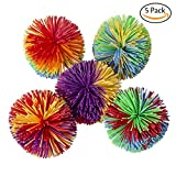 Hibery 5 Pack Monkey Stringy Balls, Soft Active Fun Toy, Sensory Fidgets Toys, Stress Balls with Rainbow Pom Ball, Colorful Bouncy Ball / Stress / Sensory Toy