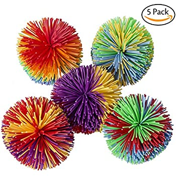 Hibery 5 Pack Monkey Stringy Balls, Soft Active Fun Toy, Sensory Fidget Toys, Stress Balls with Rainbow Pom Ball, Colorful Bouncy Ball / Stress / Sensory Toy