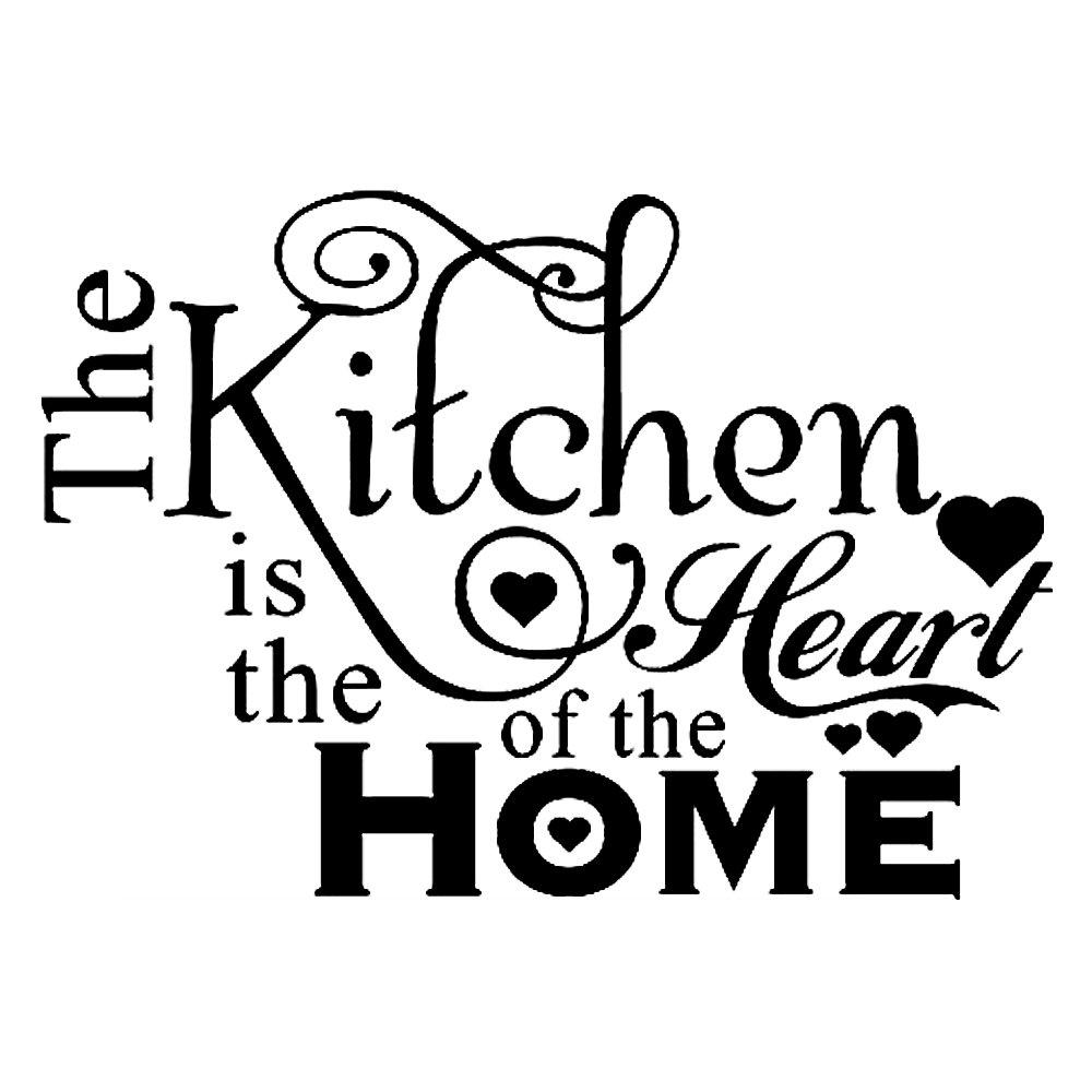 Adesivi Murali Frasi Scritt The Kitchen is The Heart of The Home Stickers Muri in Camera da Letto Dormitorio e Soggiorno Amovibile Decorazione Parete 45 * 35cm CDKJ