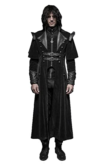 33066f5e1a6 DEVIL SHACKLES Men Gothic Cool Long Cloak Coat Punk Long Coat Trench Coats  Windbreaker Overcoat