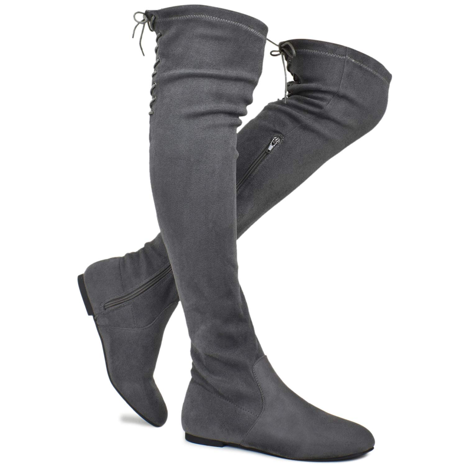 46ce22affc93 Amazon.com | Premier Standard - Women's Fashion Comfy Vegan Suede Side  Zipper Over Knee High Boots | Over-the-Knee