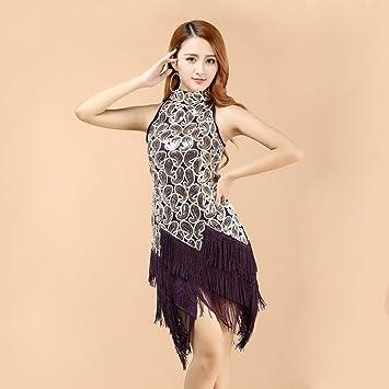 Liu Sensen Las Mujeres Clásicas Danza Latina Falda Flecos Cóctel ...