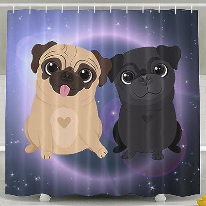 83ae709e14d Amazon.com: Pugs Dog Brother Cartoon Cute Bath Shower Curtain Fabric ...