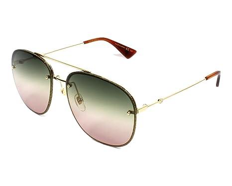 Gucci Damen Sonnenbrille GG0227S 004, Gold (4/Multicolor), 62