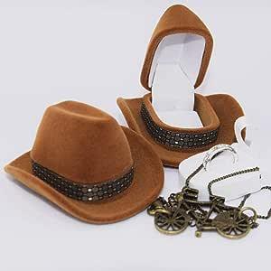 Tonglisen - Caja de Regalo de Terciopelo con Forma de Sombrero de Vaquero para Collar, Pendientes y Anillo: Amazon.es: Hogar