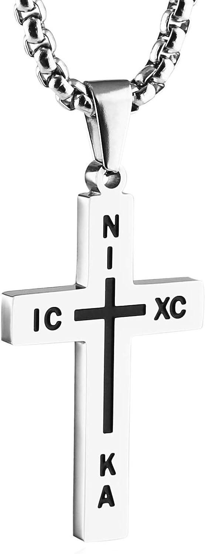 HZMAN Stainless Steel Russian Orthodox Cross Pendant Necklace for Men Women, Nika, ICXC