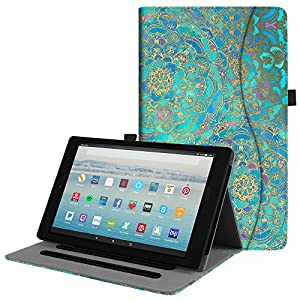 Fintie Case for All-New Amazon Fire HD 10 Tablet (7th Generation, 2017 Release) - [Multi-Angle Viewing] Folio Stand Cover with Pocket Auto Wake/Sleep for Fire HD 10.1 Inch Tablet, Shades of Blue
