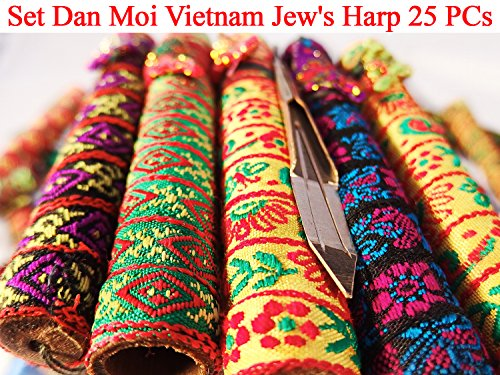 Set Dan Moi 25 PCs Vietnam Jews Harp - mouth/lip musical instrument (jaw harp) (5 PCs Mini + 5 PCs Bass Double + 5 PCs Standard + 5 PCs Bass + 5 PCs Mini Double)