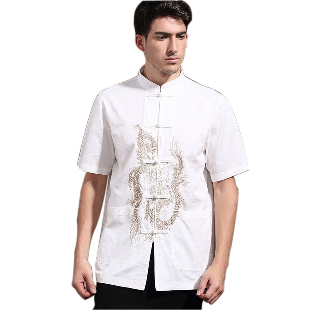 Mens Chinese Kung Fu Short Sleeve Cotton Tang Shirt with Dragon Embroidery White Size XXXL by Master J