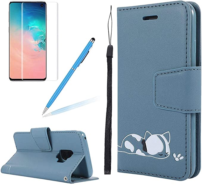 Strap Leather Case for Samsung Galaxy S9,Wallet Cover for Samsung Galaxy S9,Herzzer Classic 3D Grey Butterfly Flower Print Relief Magnetic Stand Case with Soft TPU