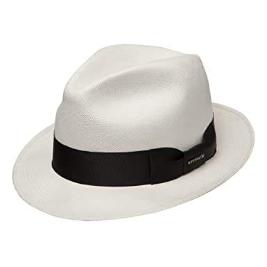 53a07dae3b9db Stetson Haberdash Men s Shantung Straw Center Dent Fedora Hat Natural  (Small)