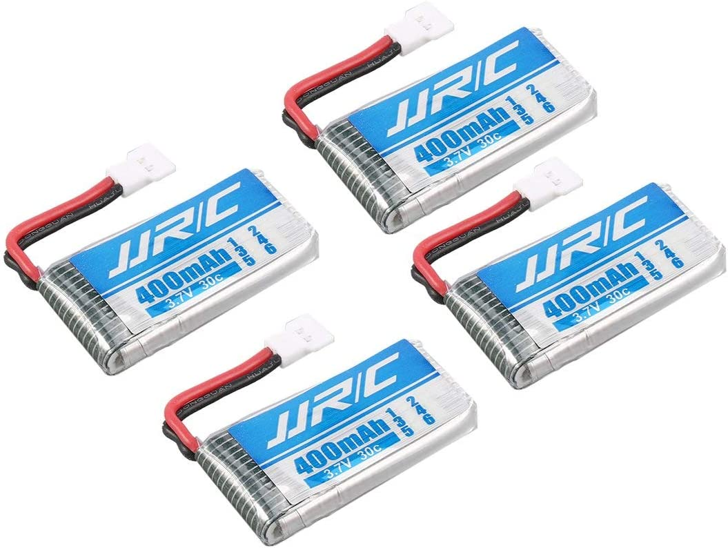 Swiftswan Original 4Pcs JJR//C 3.7V 400mAh 30C Lipo Battery with 4 in 1 Charger for JJR//C H31 H98 GoolRC T6 RC Quadcopter Drone