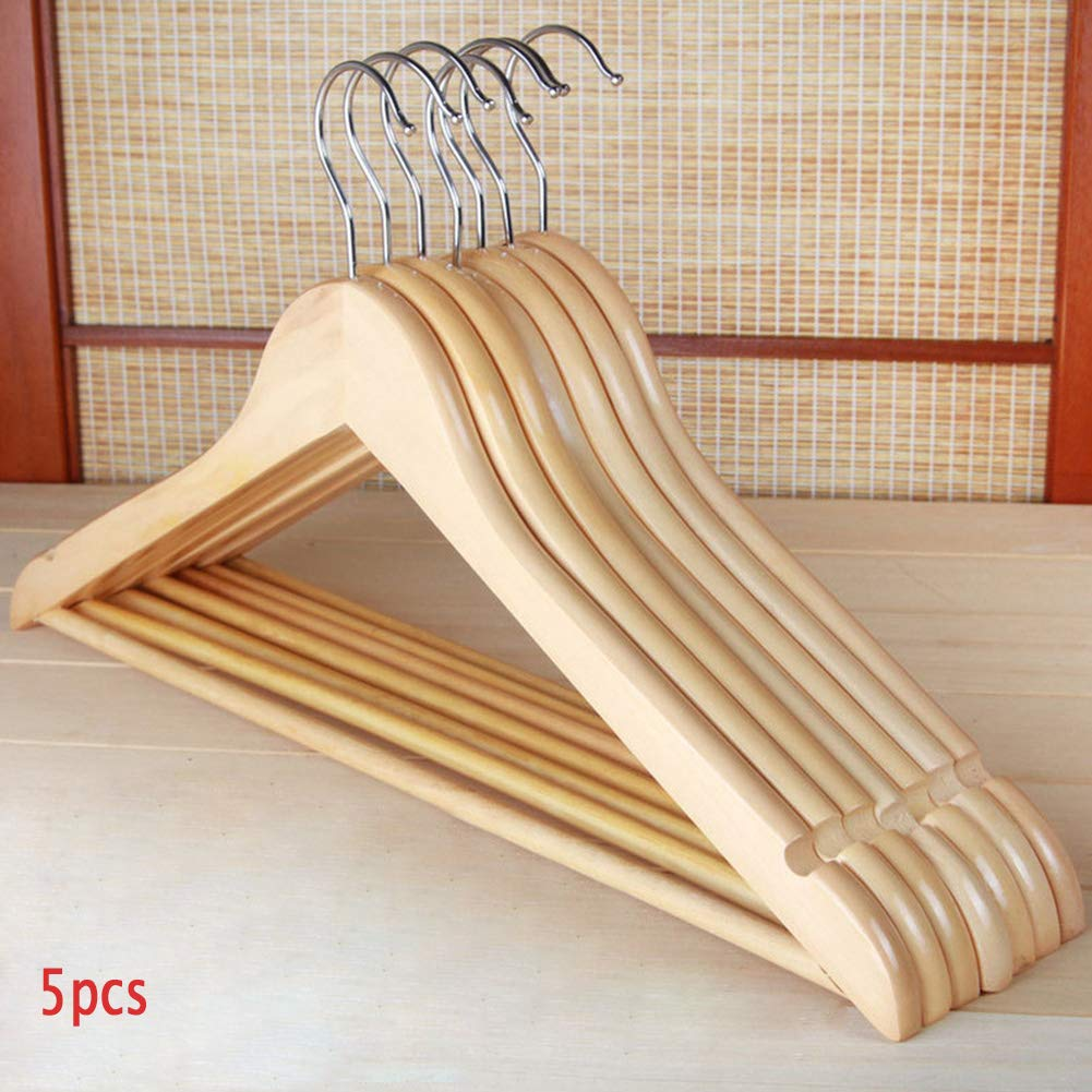 Onner 5Pcs Wooden Clothes Hangers, High-Grade Solid Wood Coat Clothes Suit Trouser Garments Adult Wood Hangers with Rotatable Metal Hook, for Home and Hotel (5pcs)