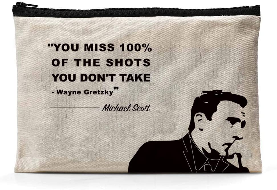 Ihopes Michael Scott Inspirational Quotes Canvas Zipper Pouch | You Miss 100% of The Shots Pencil Case/Pencil Pouch/Pen Organizer Bag Gifts for The Office Fan/Book Lovers/Kids/Friends