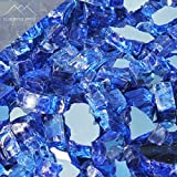 Blue Ridge Brand™ Cobalt Blue Reflective Fire Glass - 50-Pound Professional Grade Fire Pit Glass - 1/2'' Reflective Fire Pit Glass Bulk Contractor Pack