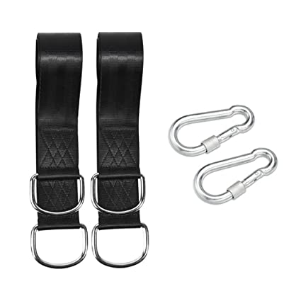 Vosarea 2pcs Portable Hammock Strap Tree Swing Straps Traveling Outdoor Camping Hanging Belt Rope with 2pcs Metal Buckle (Black)