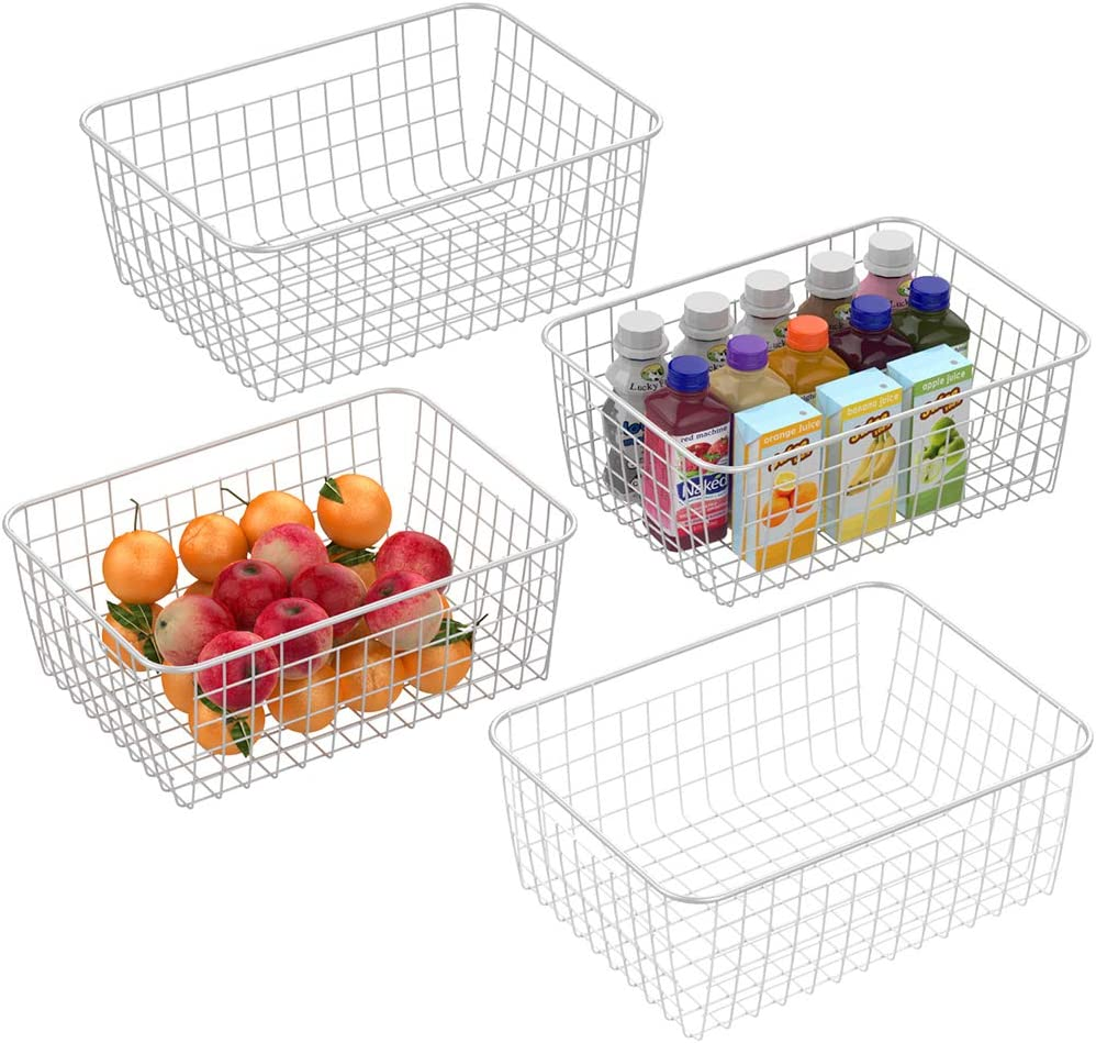 Wire Basket, Cambond 4 Pack Wire Baskets for Storage Durable Metal Basket Pantry Organizer Storage Bin Baskets with Handles for Kitchen Cabinets, Pantry, Bathroom, Countertop, Closets (White, Medium)