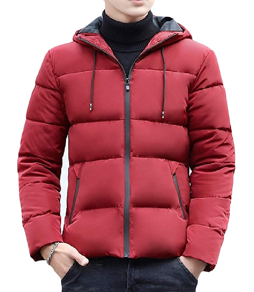 SayahMen Zip Thicken Cotton Pure Color with Hooded Comfort Puffer Jacket