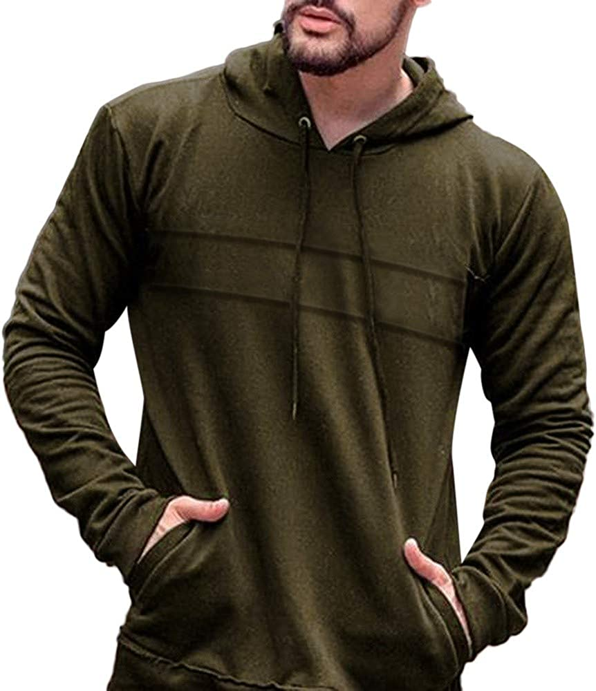 Men Casual Autumn Long Sleeve Slim Solid Color Hooded Tops Blouse Himtak Mens Solid Color Stitching Striped Hooded Sweater