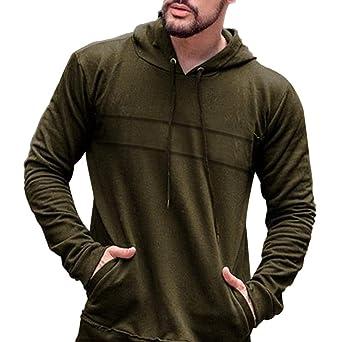 LILICAT❤ Camisa Casual Con Capucha Con Bolsillo Multicolor de Color Sólido de Manga Larga Delgada