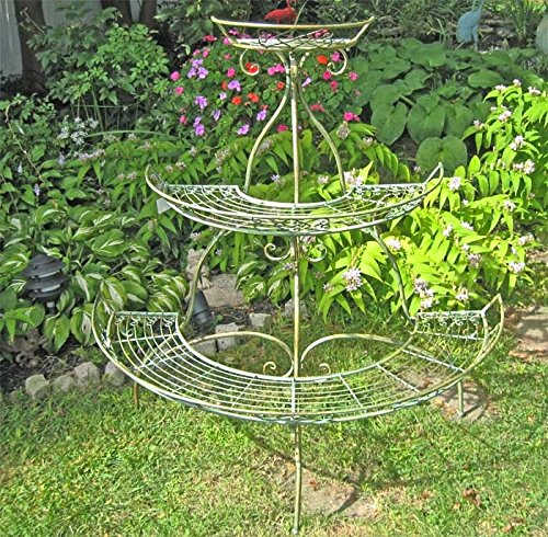 3-tier Plant Stand - Wrought Iron - Antique Mint Green Fi...