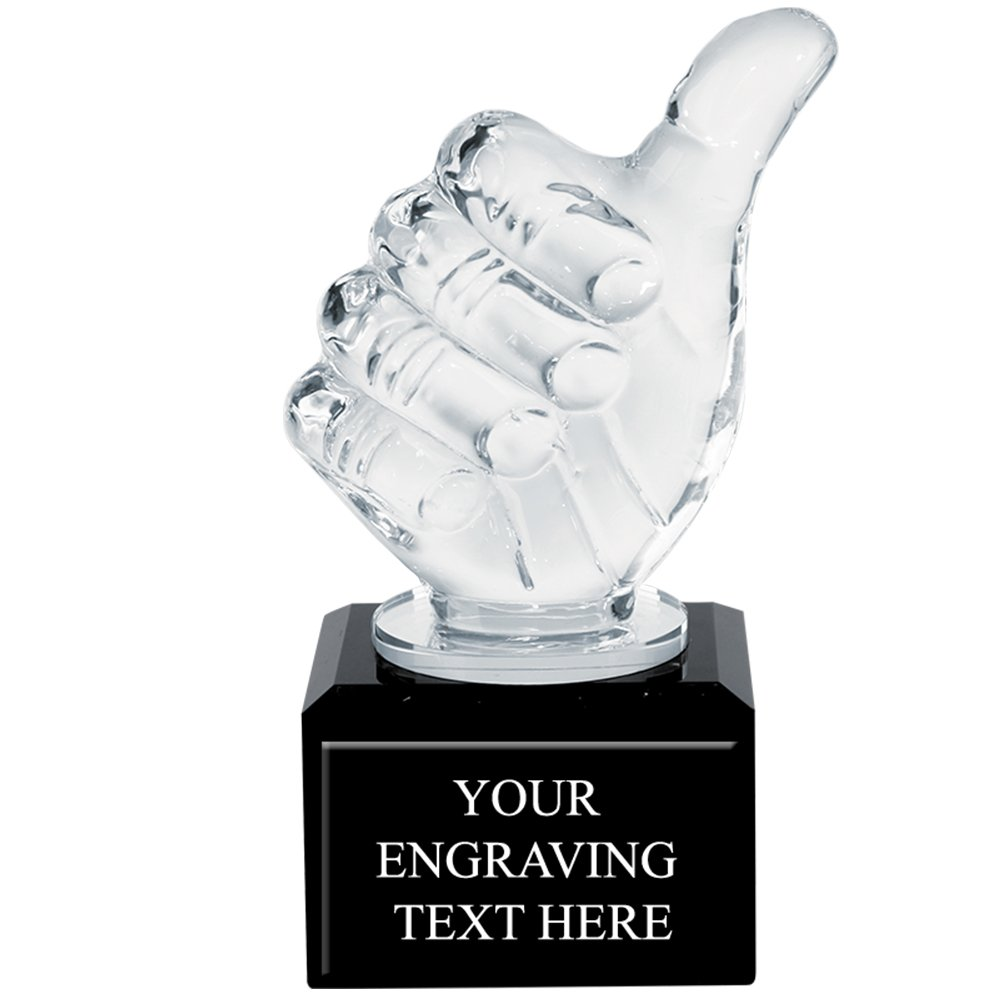 Corporate Recognition Trophies - Engraved Thumbs Up Crystal Trophy Award Prime