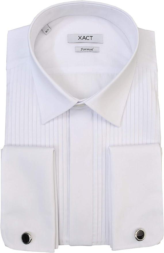 Xact - Camisa de vestir para hombre con doble puño y gemelos: Amazon.es: Ropa y accesorios