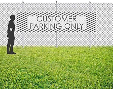 16x4 CGSignLab Customer Parking Only Stripes White Wind-Resistant Outdoor Mesh Vinyl Banner