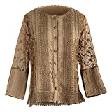 Parsley & Sage Women's Anastasia Cardigan - Open Front Fashion Sweater Jacket - Cognac - 3X -Size 22-24