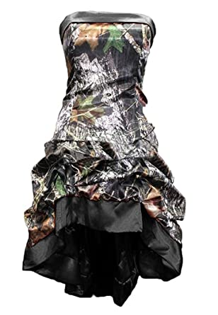 Snowskite Womens Strapless Short High Low Camo Cocktail Party Prom Dress Black 0