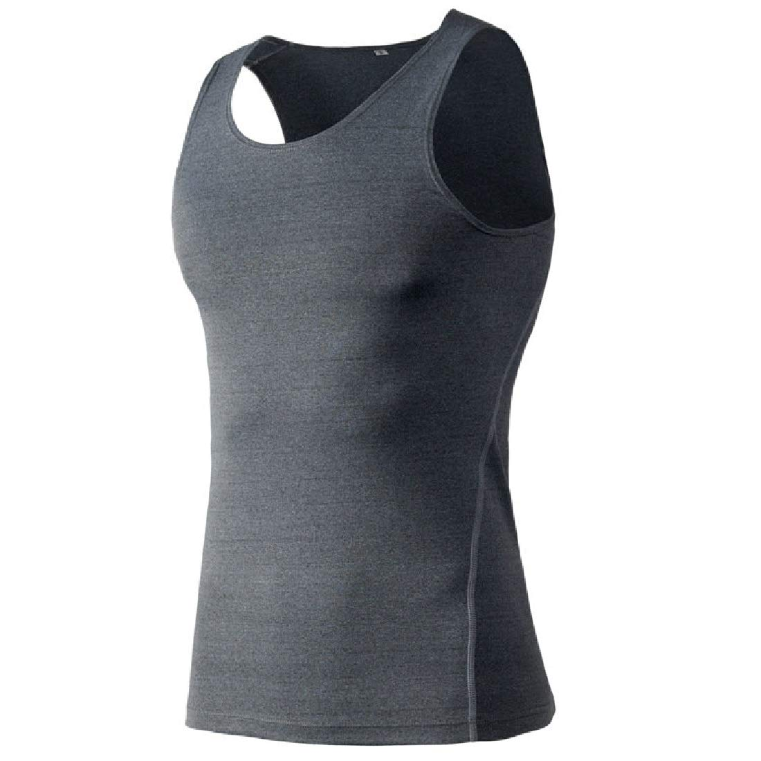 Zantt Mens Running Trainning Exercise Dry Fit Solid Tank Top Cami Blouse Shirt
