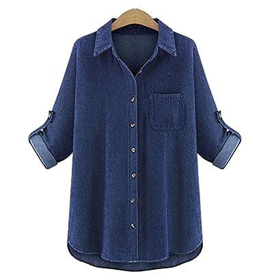 newest b6277 c80e2 hellomiko Camicia di Jeans da Donna, Camicia di Jeans Larghi ...