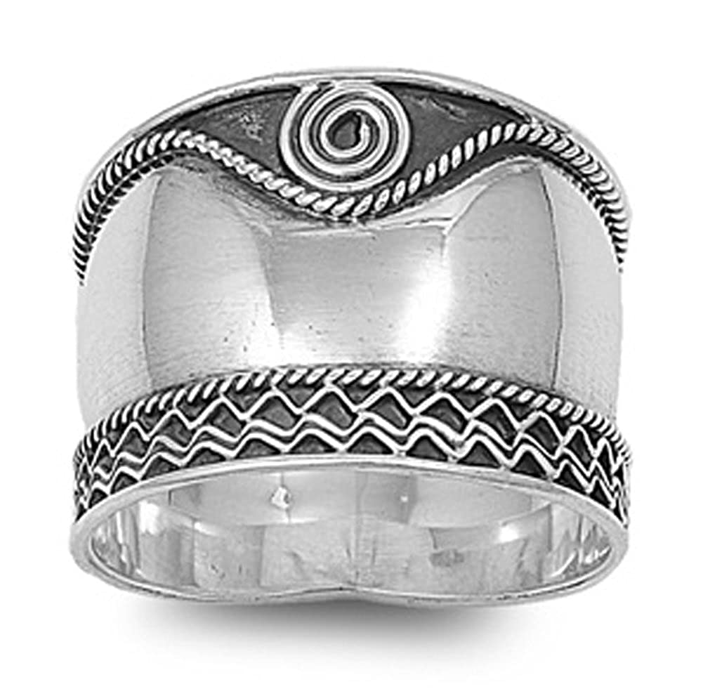 Sterling Silver Women's Bali Rope Swirl Ring Wide 925 Oxidized Band Sizes 6-12 Sac Silver