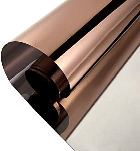 Privacy Window Film One Way Mirror Adhesive Reflective Window Tint Anti UV Heat Control Glass Film for Home and Office Daytime Privacy Protection 17.7Inch x 10Feet, Silver&Brown