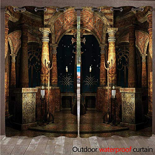 cobeDecor Gothic Home Patio Outdoor Curtain Ancient Hall Pillars W84 x L96(214cm x 245cm)
