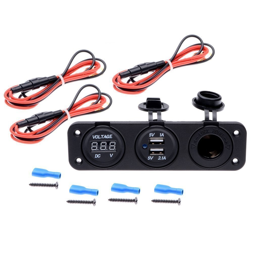 Qunqi Car DC Digital Voltmeter + Dual USB 2 Port Charger + DC12V Power Socket Three Port Panel For Boat Car With Wire