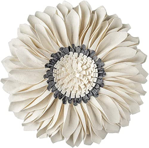 JWH 3D Sunflower Accent Pillow Hand Craft Round Cushion Decorative Pillowcase with Pillow Insert Home Sofa Bed Living Room Decor Gift 14 Inch 35 cm Wool Beige Gray Chekcer