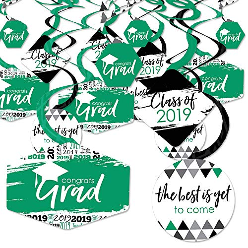 Green Grad - Best is Yet to Come - 2019 Green Graduation Party Hanging Decor - Party Decoration Swirls - Set of 40 from Big Dot of Happiness