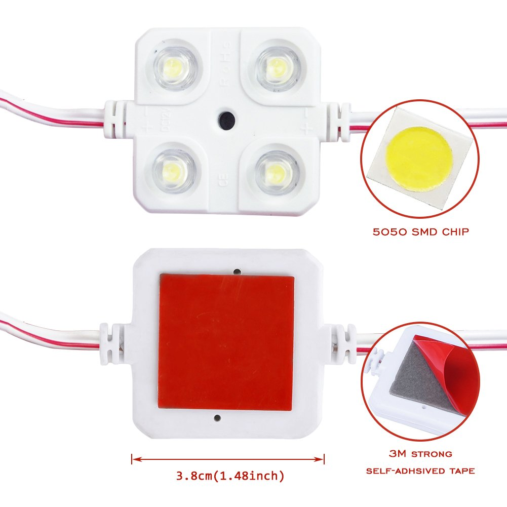 Lianqi 12V 10x4 LED Auto Luz interior Cúpula de techo Luz 5050 ...