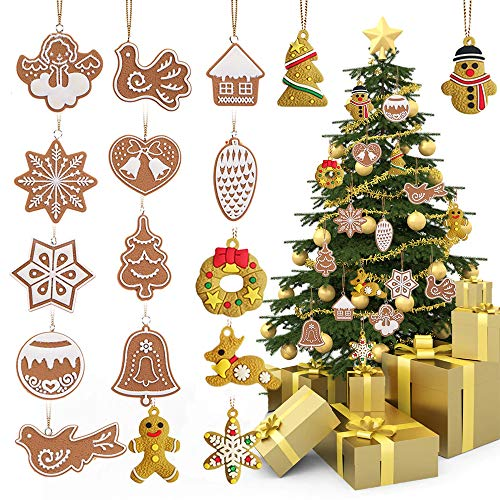 Macute Christmas Hanging Ornaments Christmas Tree Doll Pendant Bell Snowman Reindeer Snowflake Ornaments for Holiday Home Decorations(17 Pcs) ()
