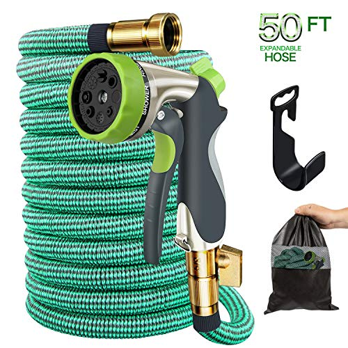 Garden Hose, 50ft Expandable Gardening Water Hoses Flexible Non-Kink Expanding Hose with Metal Spray Nozzle